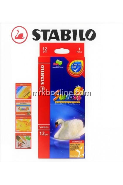 Stabilo Swans 12 Colour Pencils  (Long) 1867B