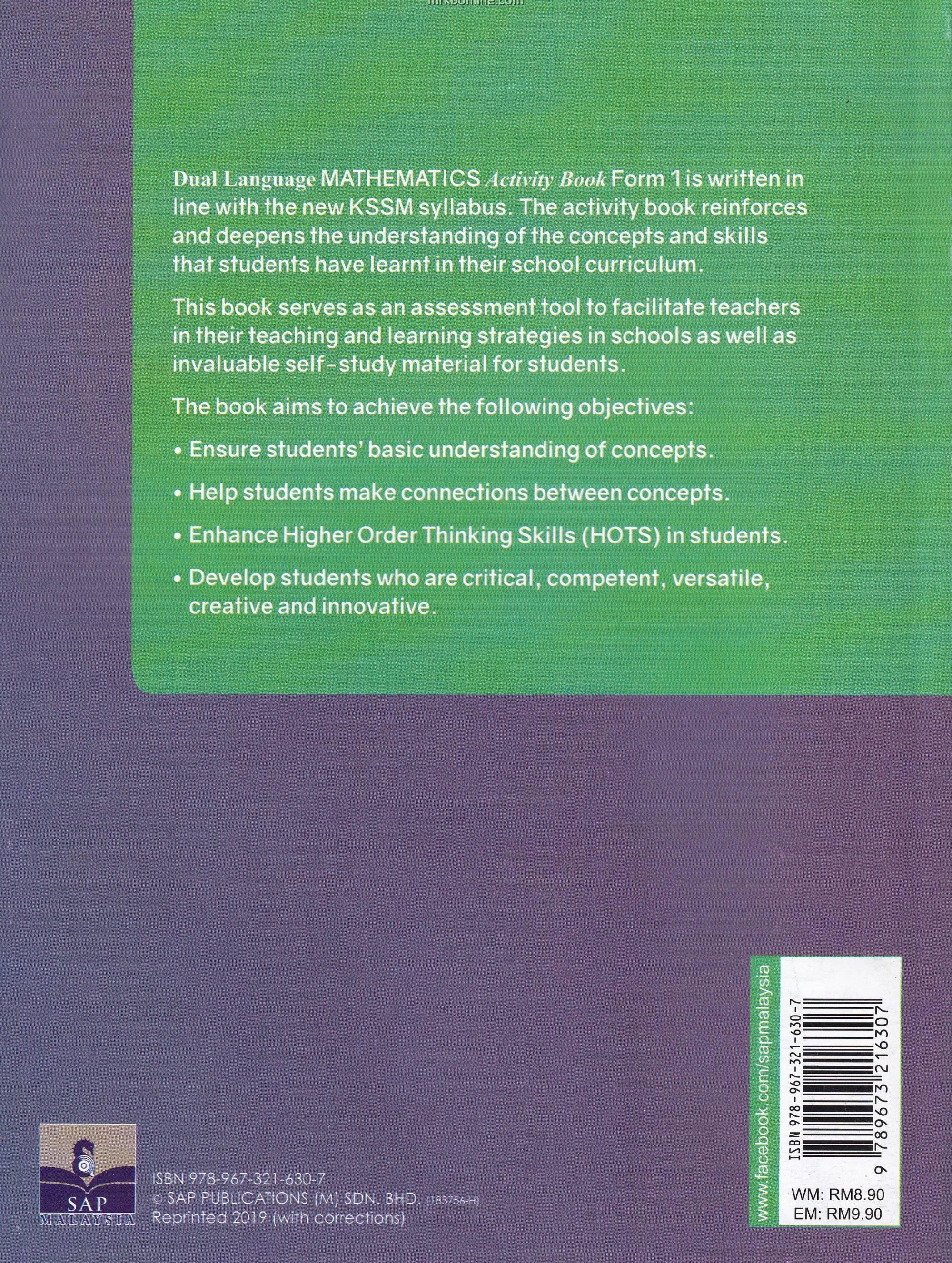 Dual Language Mathematics Activity Book Form 1