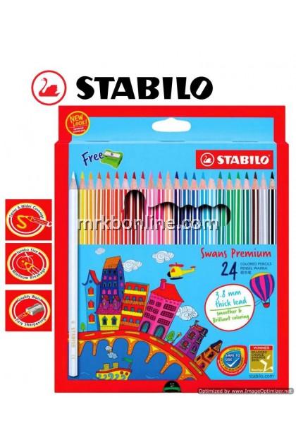 Stabilo Swans Premium 24 Colour Pencils (Long) 1869B