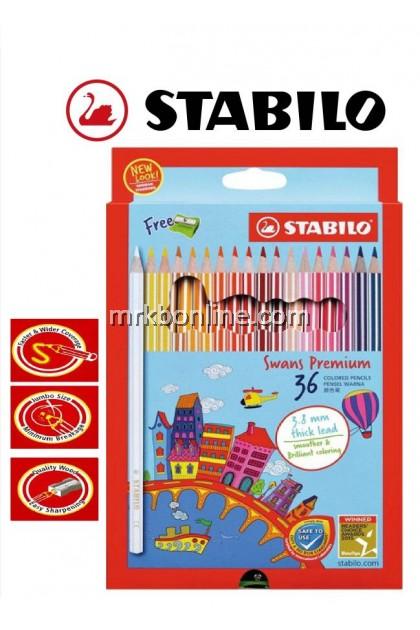 Stabilo Swans Premium 36 Colour Pencils (Long) 1868B