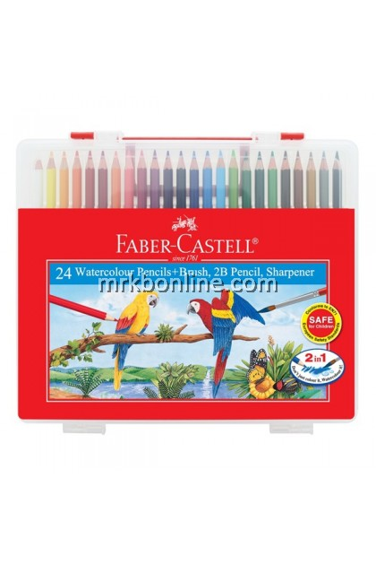 Faber-Castell 24 Watercolour Pencils + Brush,2b Pencil,Sharpener (114564)
