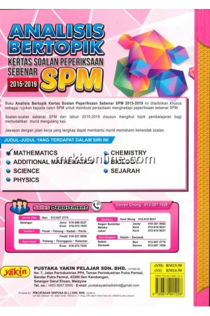 Analisis Bertopik Kertas Soalan Peperiksaan Sebenar SPM Mathematics 2015-2019