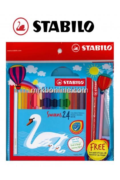 STABILO Stationery Set - Swans 24 Colour Pencil