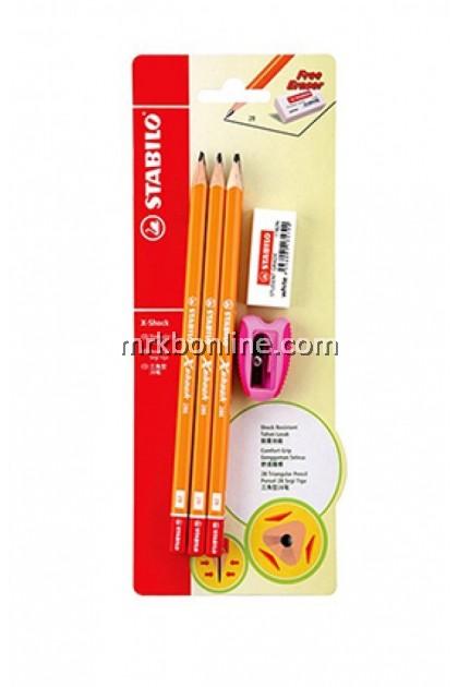 Stabilo X-Shock Triangular 2B Pencil (286BL6)