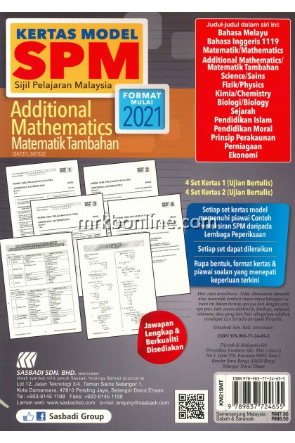 Kertas Model SPM Additional Mathematics KSSM