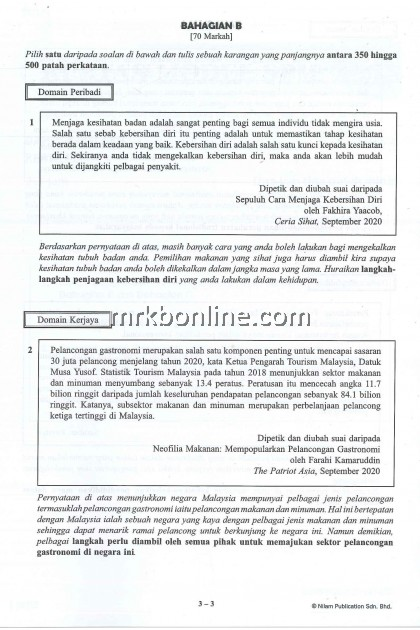 [NILAM] Kertas Model SPM Bahasa Melayu KSSM