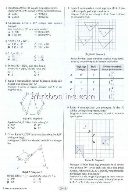 [NILAM] Kertas Model SPM Matematik KSSM
