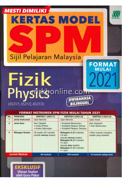 Kertas Model SPM Fizik (DWIBAHASA) KSSM