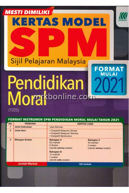 Kertas Model SPM Pendidikan Moral KSSM