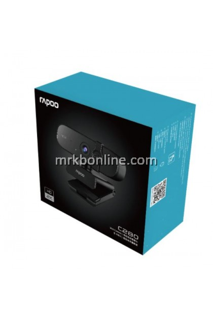 Rapoo C280 Webcam USB HD 2K Camera Built-in Omnidirectional Dual Noise Reduction Microphone 85° Wide-angle Viewing Angle 360° Horizontal Rotation - Black
