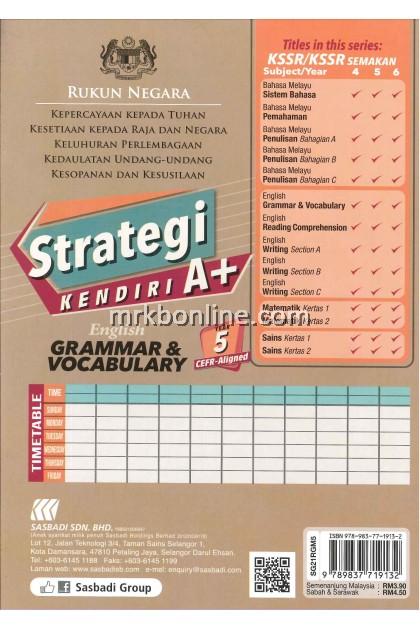 STRATEGI KENDIRI A+ ENGLISH GRAMMAR & VOCABULARY YEAR 5 CEFR-ALIGNED