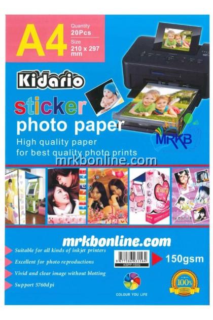 KIDARIO A4 Sticker Photo Paper A4 (20sheets/Pack) KSPP-150G