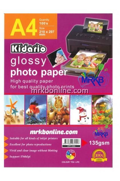 KIDARIO A4 Glossy Photo Paper A4 (100sheets/Pack) KPP-135G