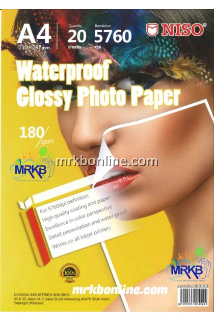 NISO Waterproof A4 Glossy Photo Paper 180gsm (20sheets)