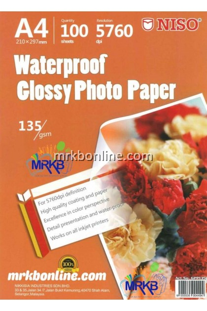 NISO Waterproof A4 Glossy Photo Paper 1835gsm (100sheets)