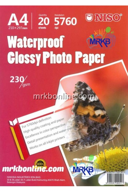 NISO Waterproof A4 Glossy Photo Paper 230 gsm (20sheets)